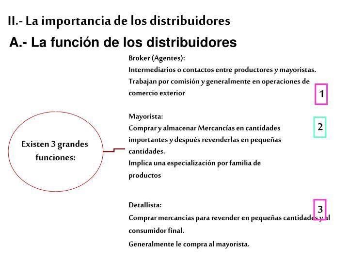 A.- La función de los distribuidores