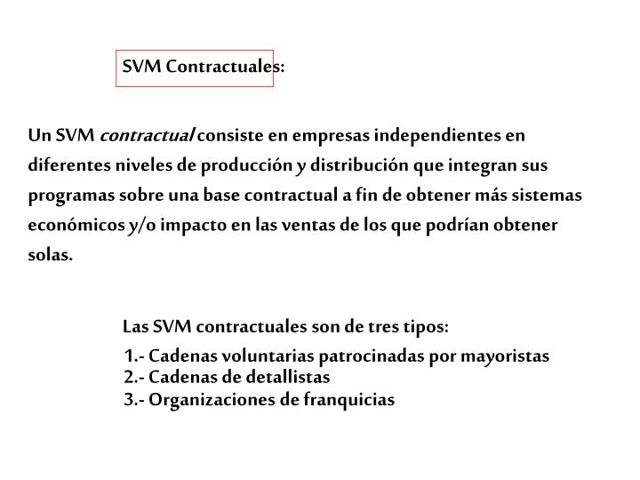 SVM Contractuales: