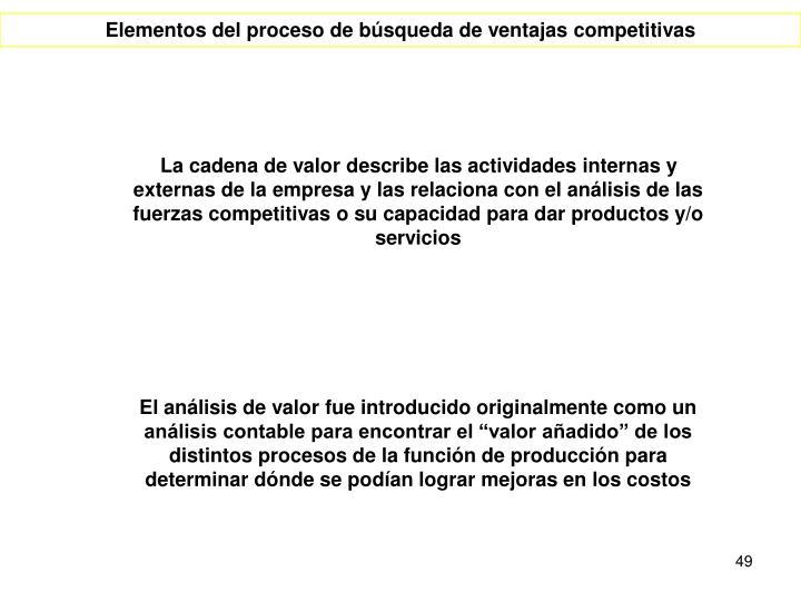 La cadena de valor describe las actividades internas y externas de la empresa y las relaciona con el análisis de las fuerzas competitivas o su capacidad para dar productos y/o servicios