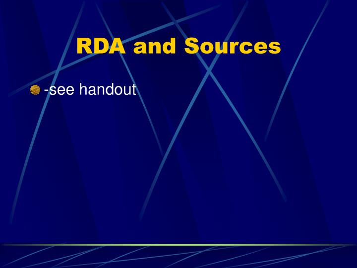 RDA and Sources