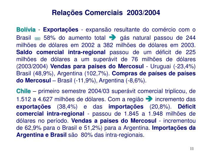 Relações Comerciais  2003/2004