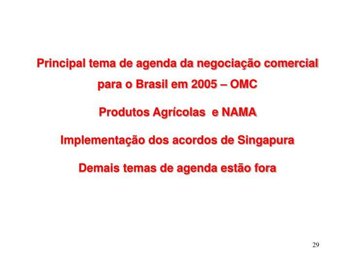 Principal tema de agenda da negociação comercial para o Brasil em 2005 – OMC