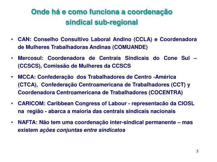 Onde há e como funciona a coordenação sindical sub-regional