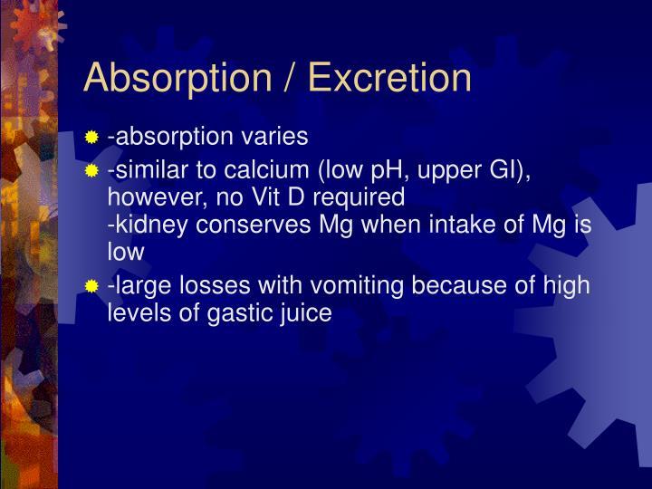 Absorption / Excretion
