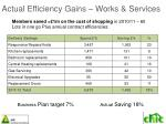 actual efficiency gains works services