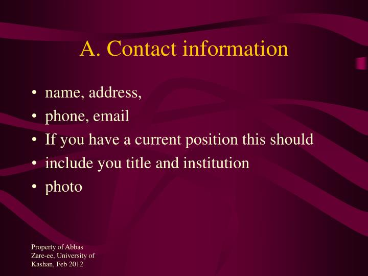 A. Contact information