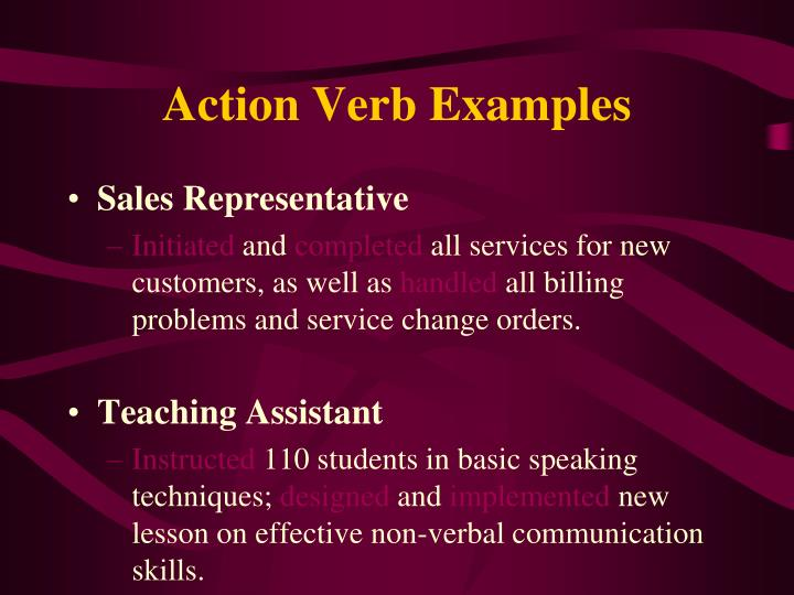 Action Verb Examples