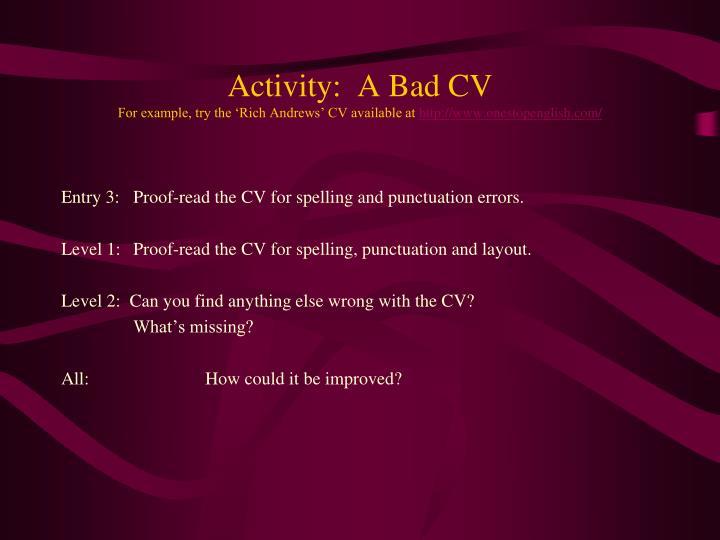 Activity:  A Bad CV