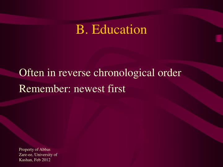 B. Education