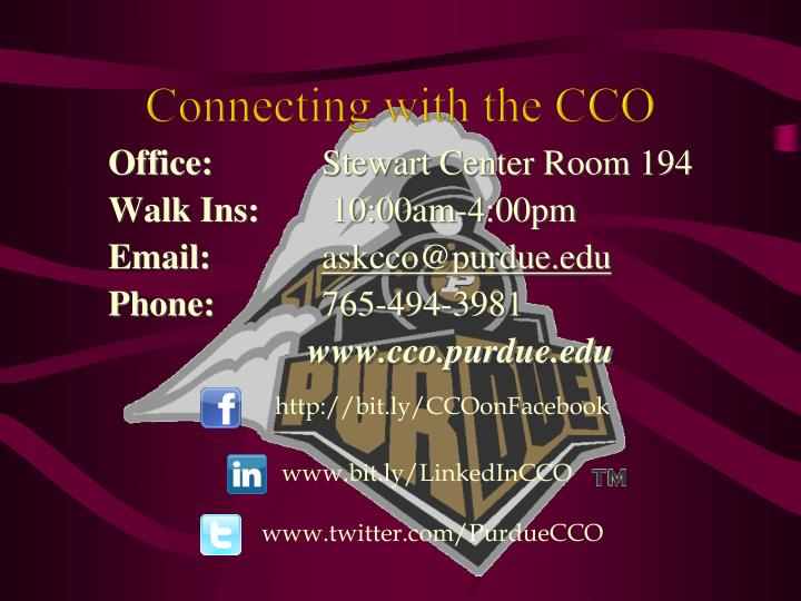 Connecting with the CCO