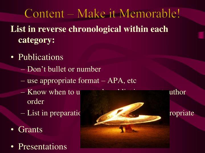 Content – Make it Memorable!