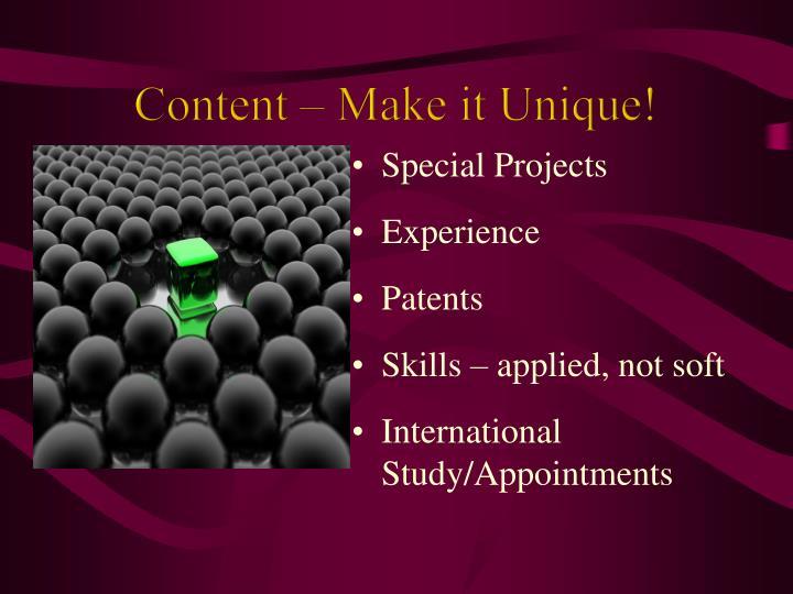 Content – Make it Unique!