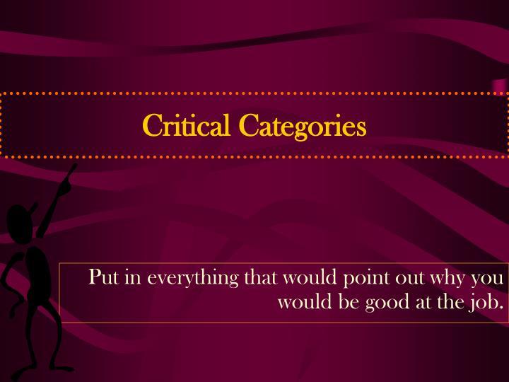 Critical Categories