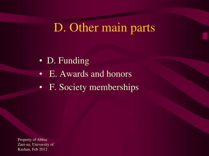 D. Other main parts