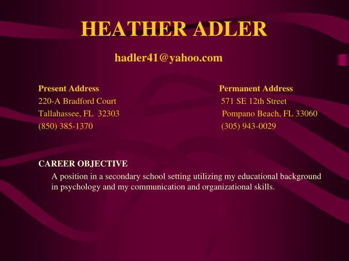 HEATHER ADLER