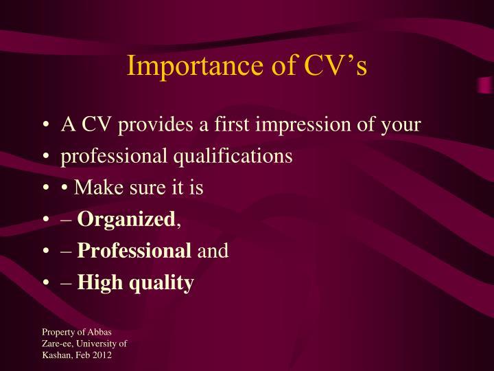 Importance of CV's