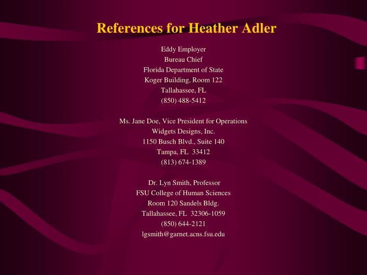 References for Heather Adler