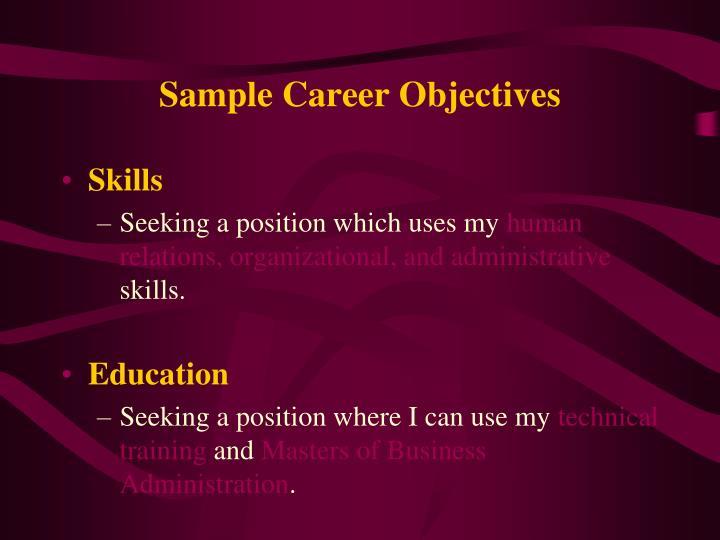 Sample Career Objectives