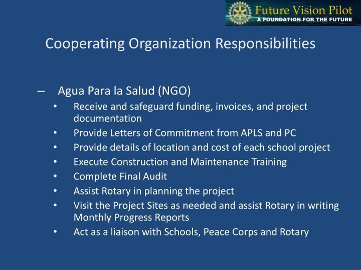Cooperating Organization Responsibilities
