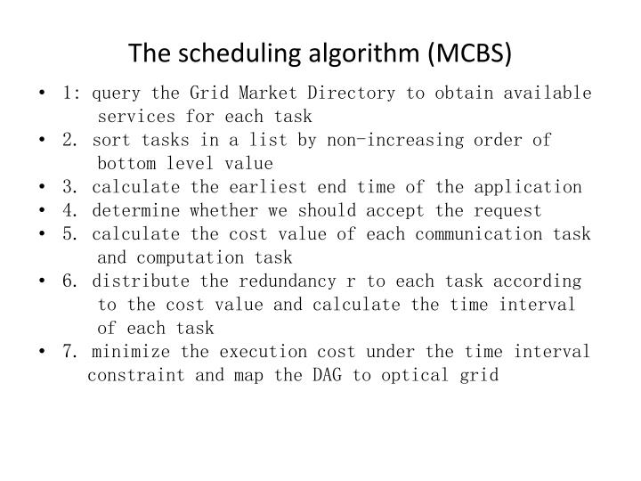 The scheduling algorithm (MCBS)