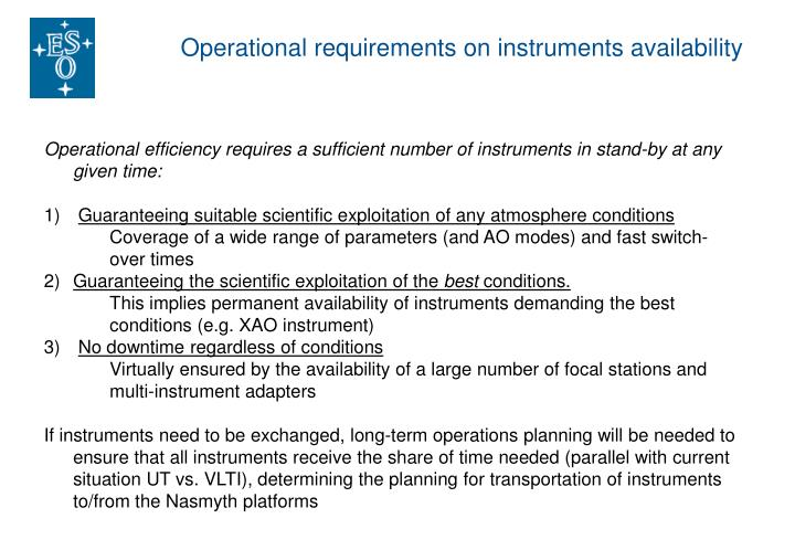 Operational requirements on instruments availability
