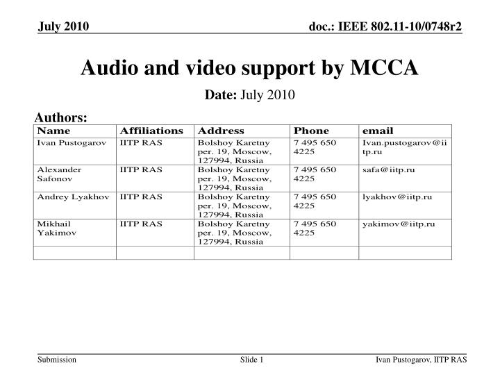 audio and video support by mcca n.