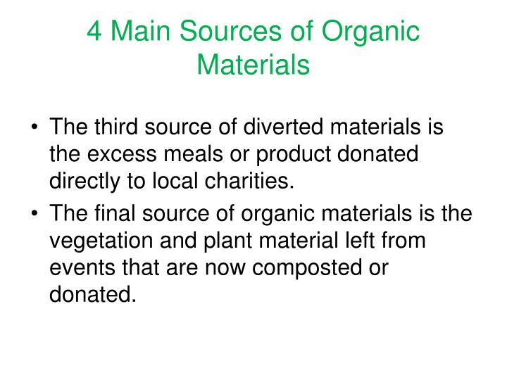 4 Main Sources of Organic Materials