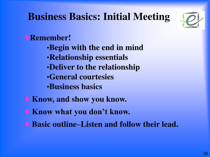 Business Basics: Initial Meeting
