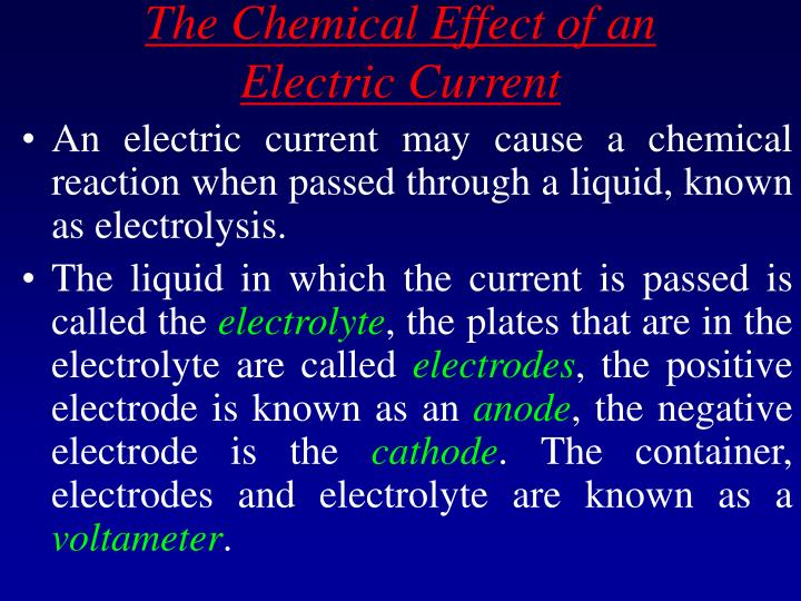 The Chemical Effect of an Electric Current
