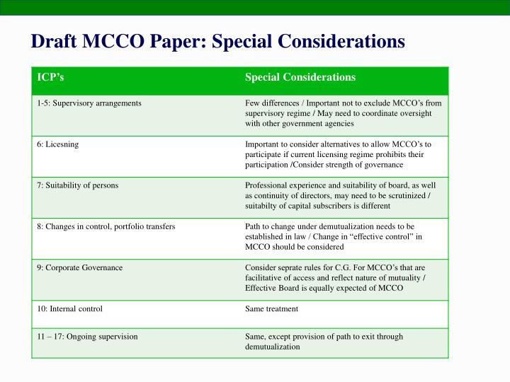Draft MCCO Paper: Special Considerations