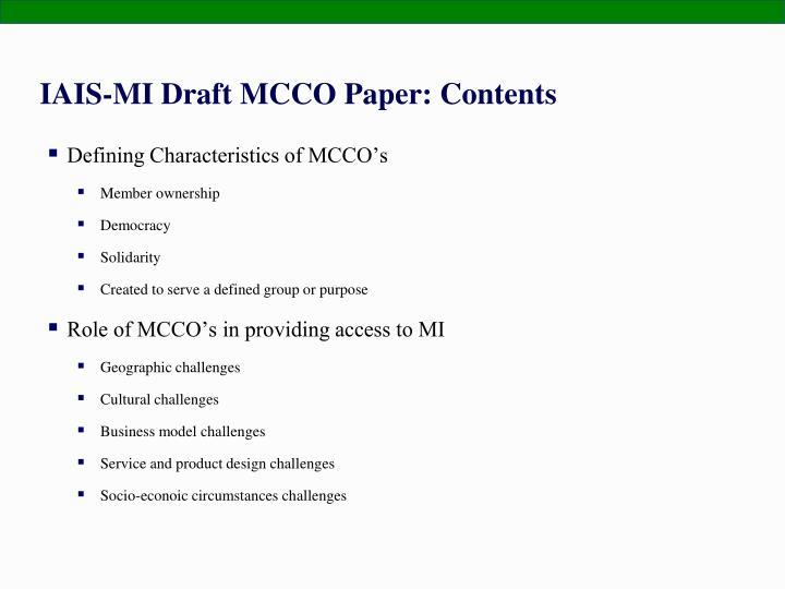 IAIS-MI Draft MCCO Paper: Contents
