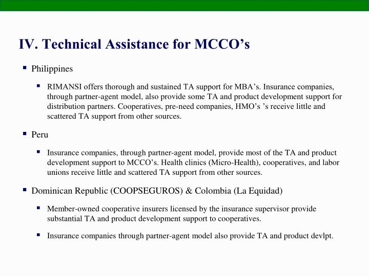 IV. Technical Assistance for MCCO's