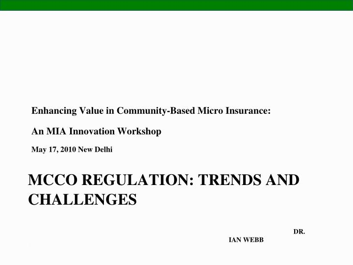 Mcco regulation trends and challenges