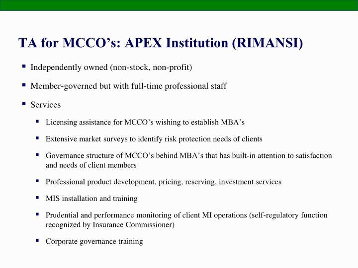 TA for MCCO's: APEX Institution (RIMANSI)