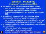 definition productivity standard economics and sna