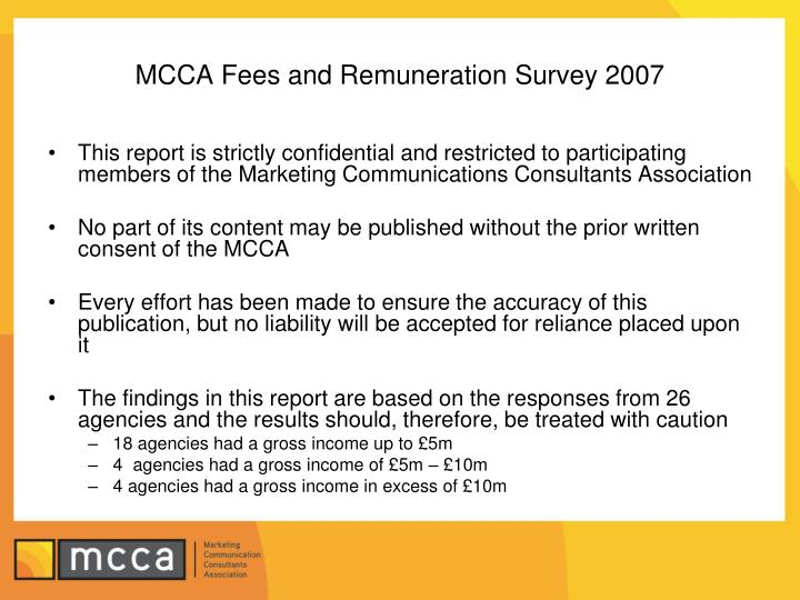 Mcca fees and remuneration survey 2007