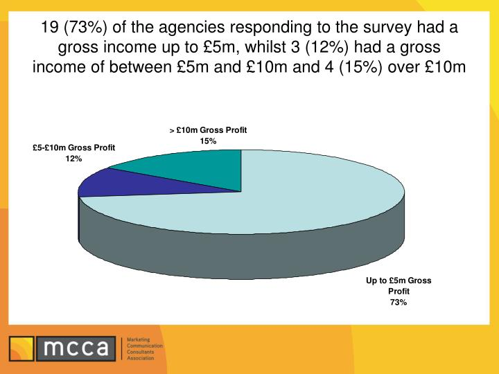 19 (73%) of the agencies responding to the survey had a gross income up to £5m, whilst 3 (12%) had a gross income of between £5m and £10m and 4 (15%) over £10m