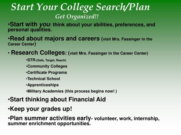 Start Your College Search/Plan