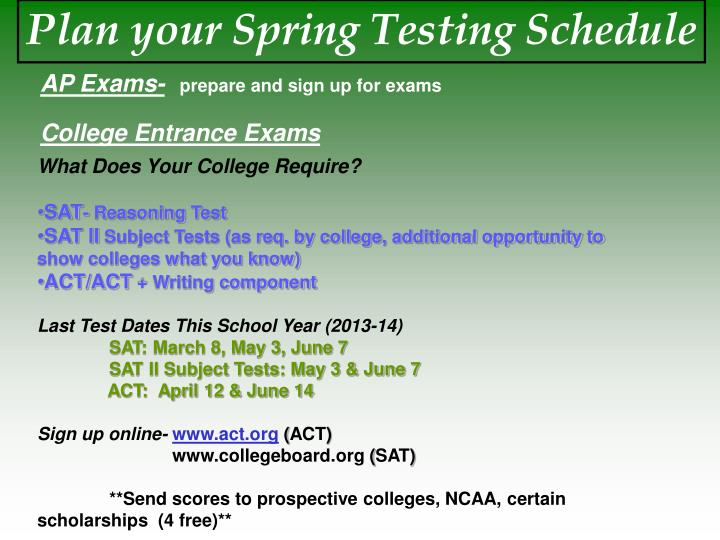 Plan your Spring Testing Schedule
