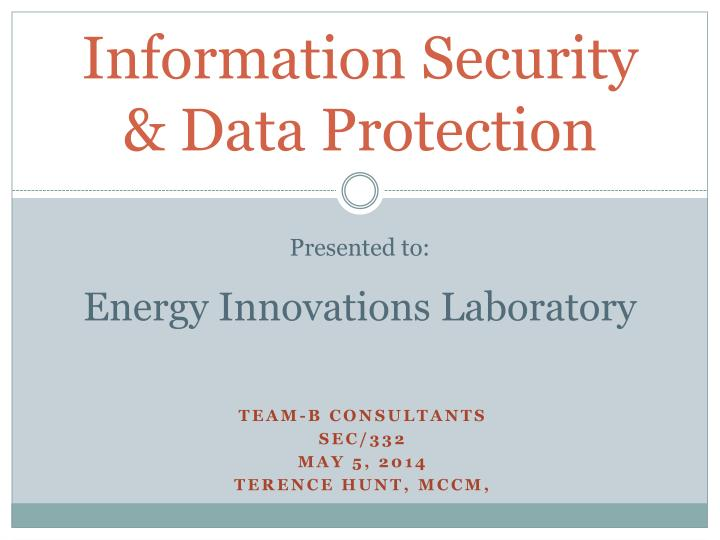 presented to energy innovations laboratory
