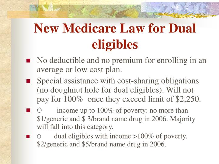 New Medicare Law for Dual eligibles