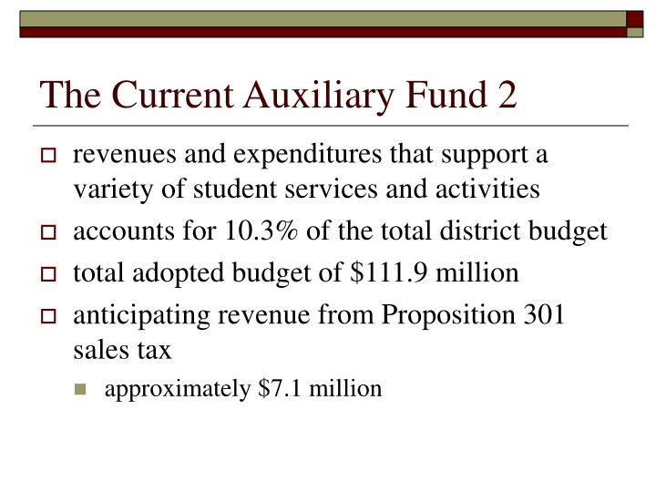 The Current Auxiliary Fund 2