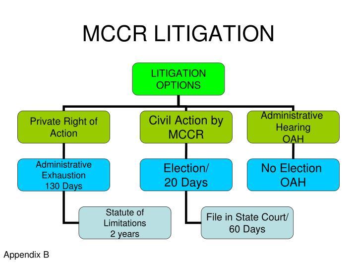 Mccr litigation