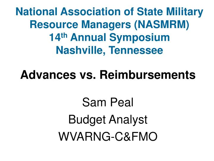 National Association of State Military Resource Managers (NASMRM)