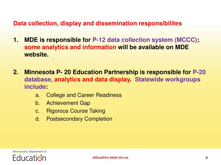 Data collection, display and dissemination responsibilites