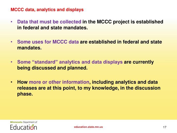 MCCC data, analytics and displays