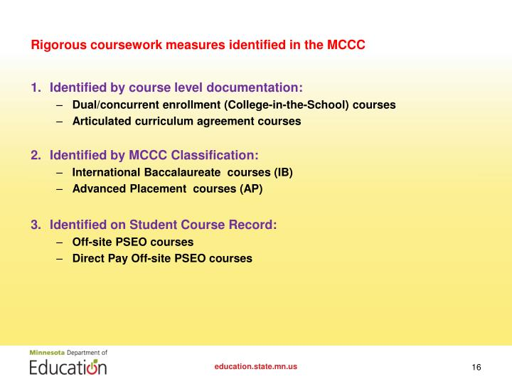 Rigorous coursework measures identified in the MCCC
