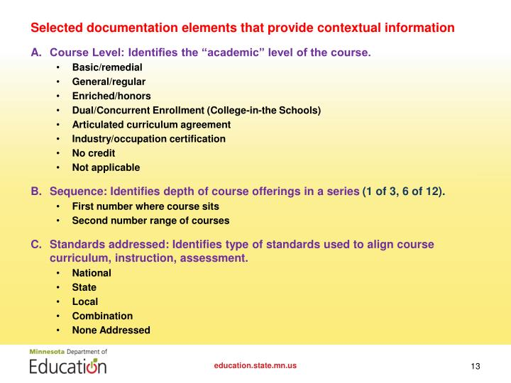 Selected documentation elements that provide contextual information