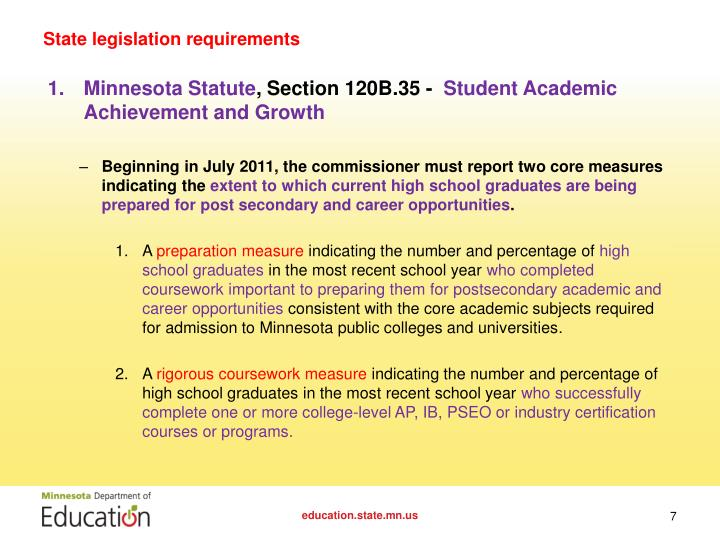 State legislation requirements
