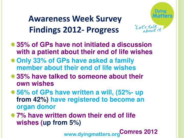 Awareness Week Survey Findings 2012- Progress